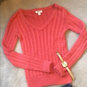 Arizona Jean Company Sweaters - Peach Pink V-Neck Cable Knit Sweater